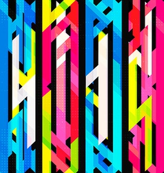 Bright neon seamless pattern with grunge effect vector