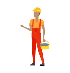 builder in helmet and uniform bucket of cement vector image