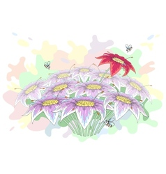 Bunch of beautiful flowers vector