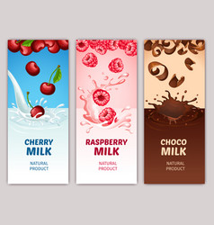 Cartoon dairy products vertical banners vector