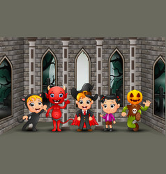 cartoon happy kids on the halloween day vector image