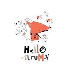 Cartoon little fox with autumn plants and flowers vector