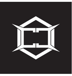 cc logo monogram with hexagon and four taper vector image