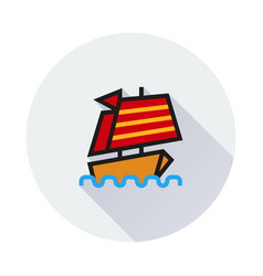 Chinese ship icon on round background vector