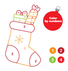 christmas color by numbers for kids educational vector image