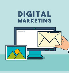 Computer email photo digital marketing vector