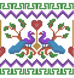 Cross stitch embroidery peacock design for vector