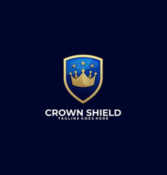 crown shield design template vector image