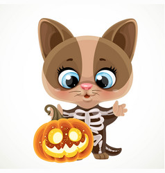 Cute cartoon kitten in halloween skeleton costume vector