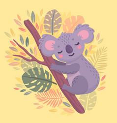 cute hand drawn koala sleeping on branch vector image