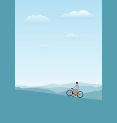 cycler on the mountains with vector image