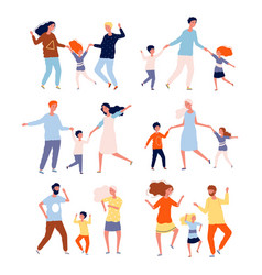 dancing family kids playing and dancing with vector image