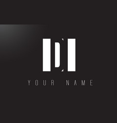di letter logo with black and white negative vector image