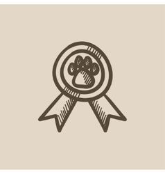Dog award sketch icon vector image