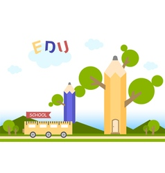 Education flat background with tree pencil vector