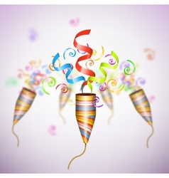 Exploding Party Popper On Blurred Background vector