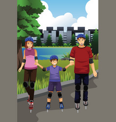 family rollerblading in a park vector image