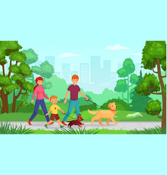 family walking with dog man woman with kid go in vector image