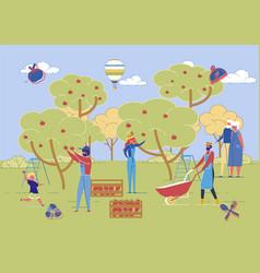 farmers family harvesting various generations vector image