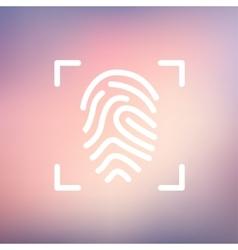 Fingerprint scanning thin line icon vector image