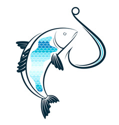 fish and fishhook vector image