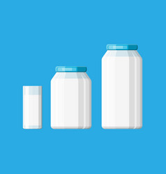 glass bottle with milk isolated on white vector image