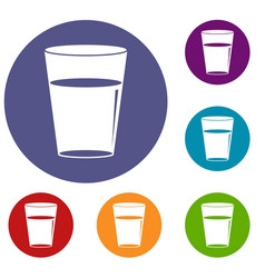 Glass water icons set vector