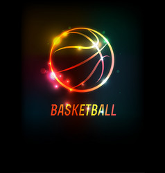 glowing basketball icon background vector image