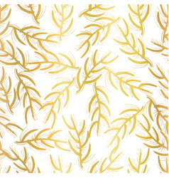 gold foil floral seamless background white vector image