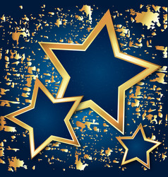 golden stars abstraction on blue background vector image