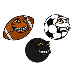 Grinning cartoon soccer football and bowling ball vector image