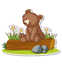 grizzly bear sitting on a log sticker vector image