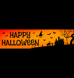 halloween orange banner vector image