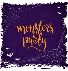 Halloween party template typography elements vector image
