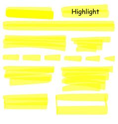 hand drawn highlight marker lines set highlighter vector image