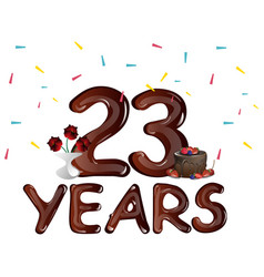 happy anniversary 23 years with cake vector image