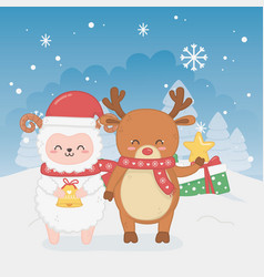 Happy merry christmas card with sheep and deer vector