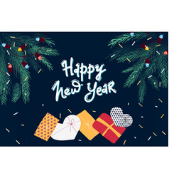 happy new year 2020 greeting card with christmas vector image