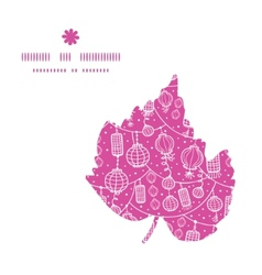 Holiday lanterns line art leaf silhouette pattern vector