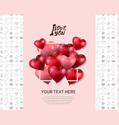 I love you design with heart balloon in white vector