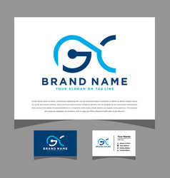 Initials pgc logo with a business card vector
