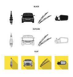 isolated object of auto and part sign set of auto vector image
