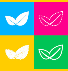 leaf sign four styles of icon on vector image