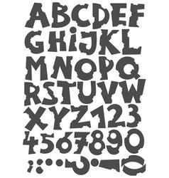Letters been eaten font set vector image