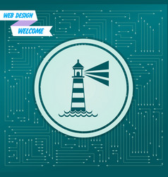 lighthouse icon on a green background with arrows vector image