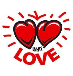 Logo two hearts love vector