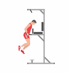 Man doing triceps dip on parallel bars vector