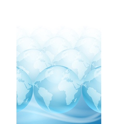 Many globes on a blue background vector image