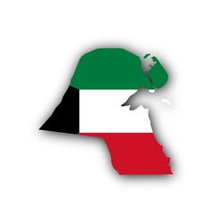 Map and flag of Kuwait vector