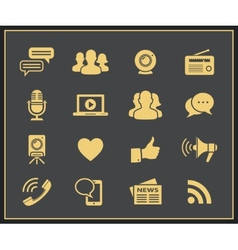 Media and social icons vector image vector image